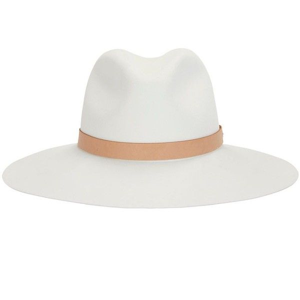 Rag & Bone Leather Band Wide Brim Fedora (720 BRL) ❤ liked on Polyvore featuring accessories, hats, white, wide brim fedora hat, wool fedora, white wide brim hat, brimmed hat and wide brim hat