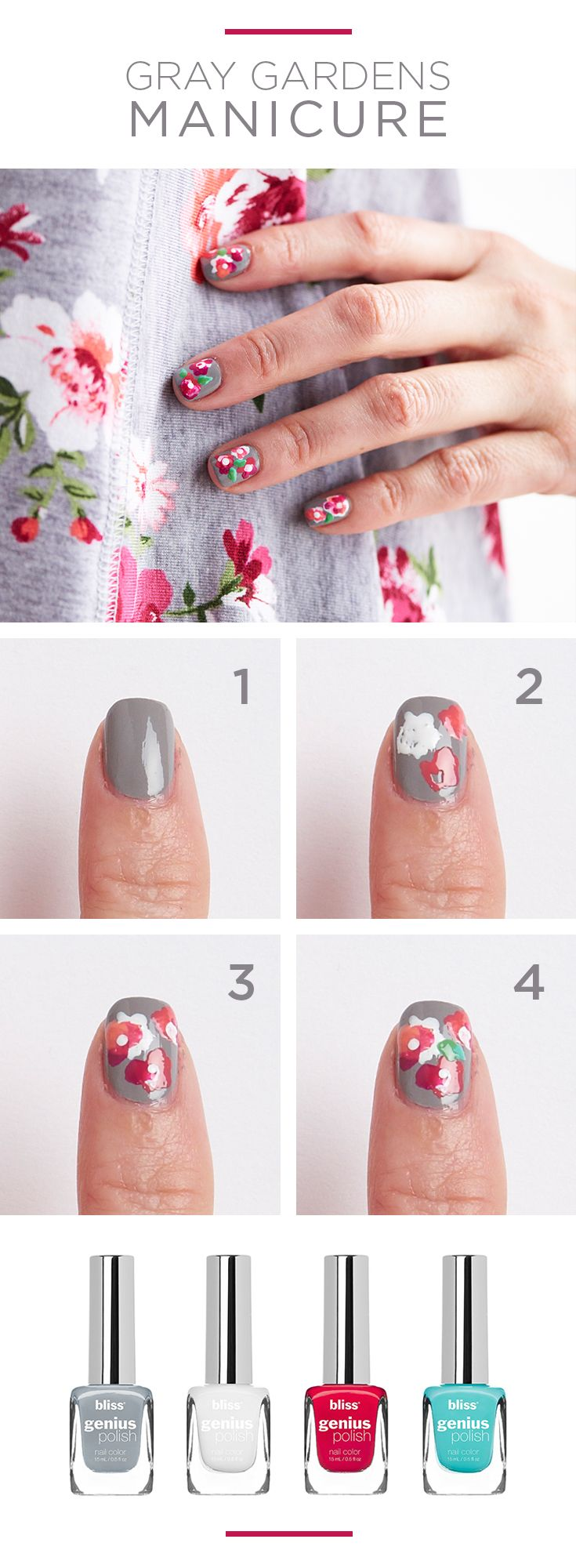 Try your hand at fresh floral nail art in just four easy steps. Perfect for the next garden party, this blooming manicure is inspired by summer's prettiest flower-print dresses. Featured bliss genius polish colors: What Do You Mink, All I Want for Crimson, Little White Lie and Jade to Order. Find bliss nail color and more at Kohl's.
