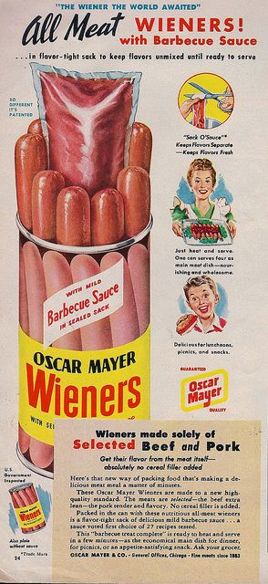 weiners with packet of barbecue sauce