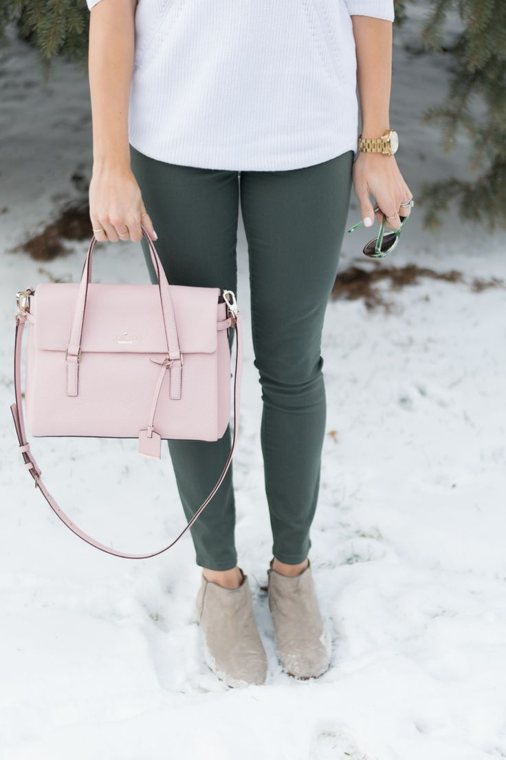 Winter wear, Outfit inso, Kate Spade, Sam Edelman   Colored Skinnies are the New Black - The Styled Press