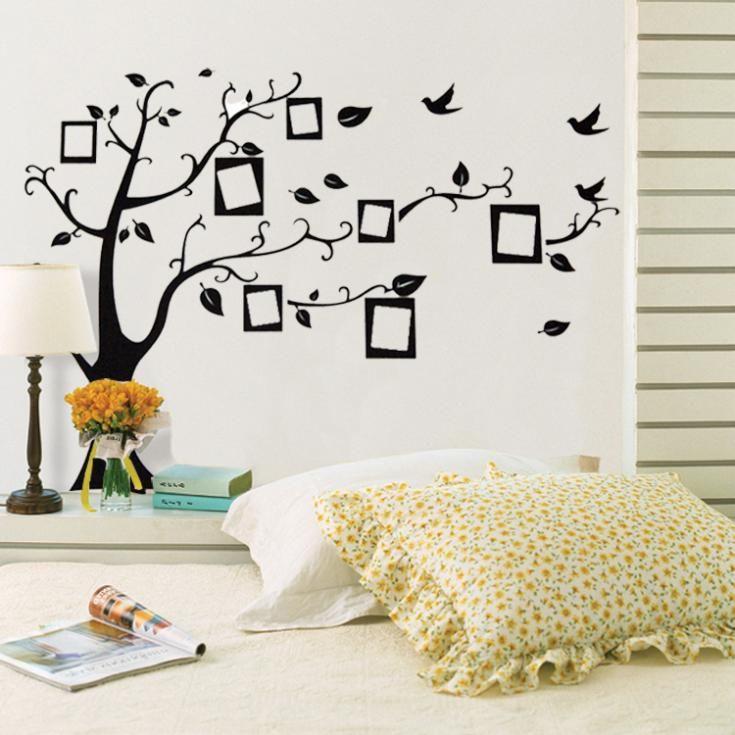 Фоторамка черный дерево стены наклейки украшения дома гостиная диван стены винила наклейки home decor съемный обои