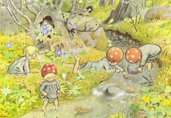 Swedish author and Illustrator Elsa Beskow ~ Forest dwellers capped with Amanita mushrooms