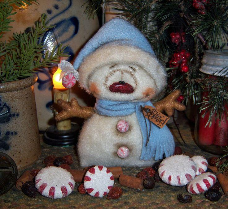 "Primitive Christmas Frosty Snowman Ornament 6"" Doll Vtg Patti's Ratties Bear"