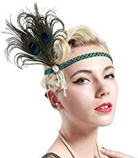 BABEYOND Vintage 1920s Flapper Headband Roaring 20s Great Gatsby Headpiece with Feather 1920s Flapper Gatsby Hair Accessories (Peacock)