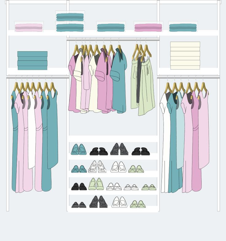 23 ideas para mejorar tu placard actual o elegir mejor el próximo. Diseño Placard de Mujer. Lugar para zapatos, perchas, estantes.