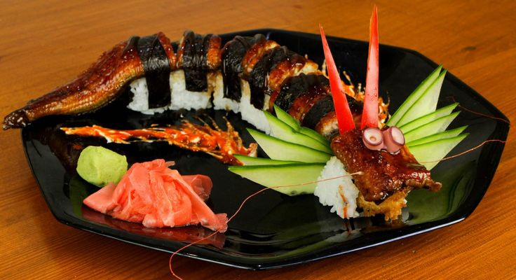 Dragon Sushi Roll Recipe - Okay, mine did not look as nice, but it tasted great.