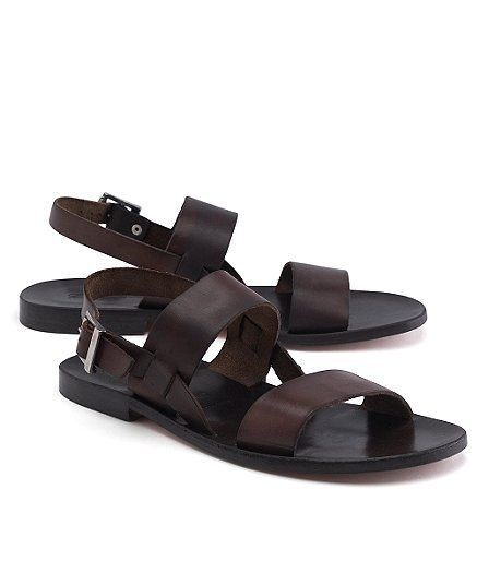 Men S Leather Strap Sandals By Brooks Brothers Genuine