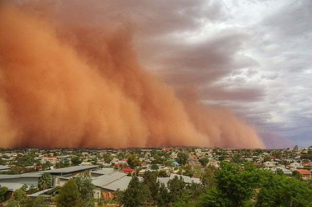 Dust Storm hitting Broken Hill, New South Wales, Australia