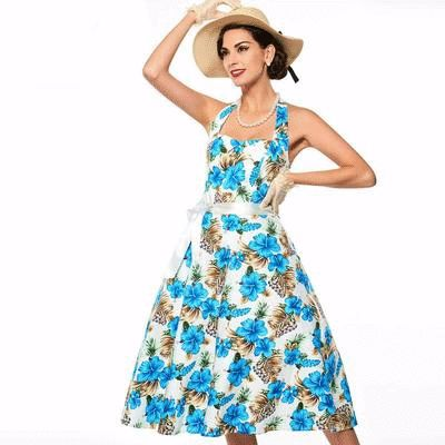 Tired of the typical bright red and pink floral dresses? Change up summer fashion with this vibrant blue floral.