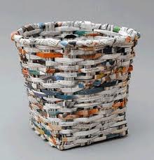 cestería en papel reciclado