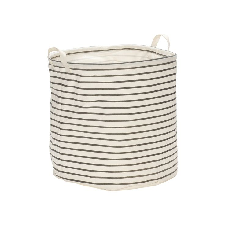 Grey and white laundry basket with handle. Itrem number: 230402 - Designed by Hübsch