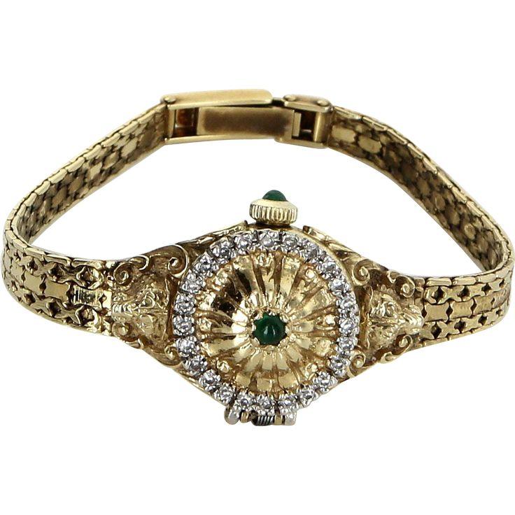 Igor Carl Faberge Franklin Mint Lion Watch Emerald Diamond 14 Karat Gold Vintage circa 1981