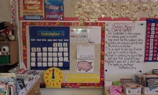 """I finished my math calendar wall and wanted to show my pics. I took two- one so you can see where I hang our weekly poem and one that just focuses on the calendar area."" Go to website for author."