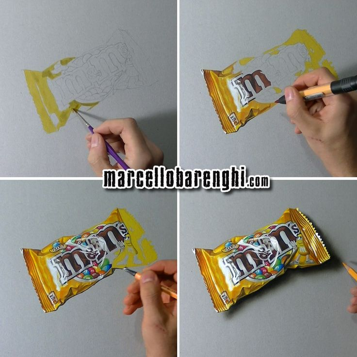 A bag of M&Ms - four drawing stages by Marcello Barenghi.