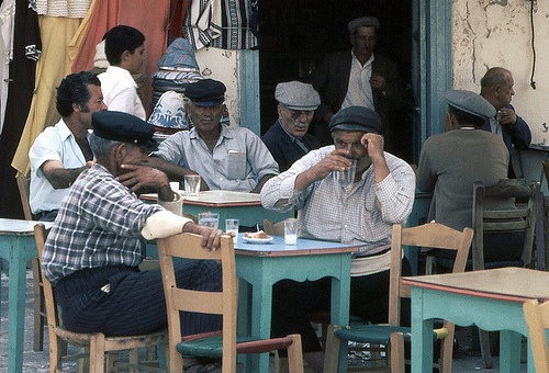 A traditional greek cafe (kafenio) like where Dr. I in Capt Corelli's Mandolin hangs out and discusses politics, gossip and history with the other islanders of Cephallonia.