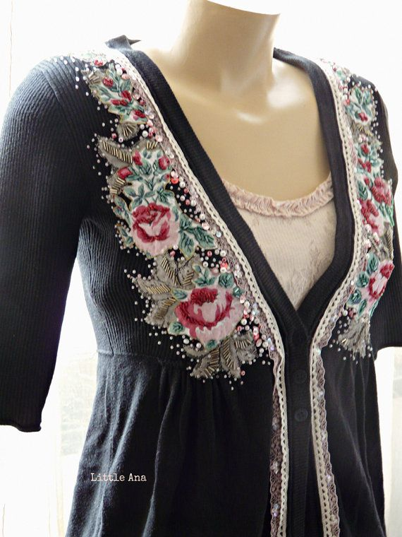 Blooming roses - bohemian cardigan, shabby chic cardigan, victorian cardigan, gypsy, romantic, art to wear, textile collage,