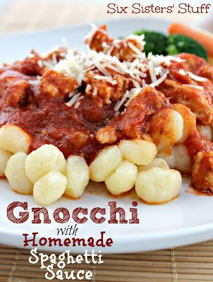 Sick of using the same old  Noodles or Pasta? You have to try Gnocchi and Homemade Spaghetti Sauce from sixsistersstuff.com #recipe #maindish