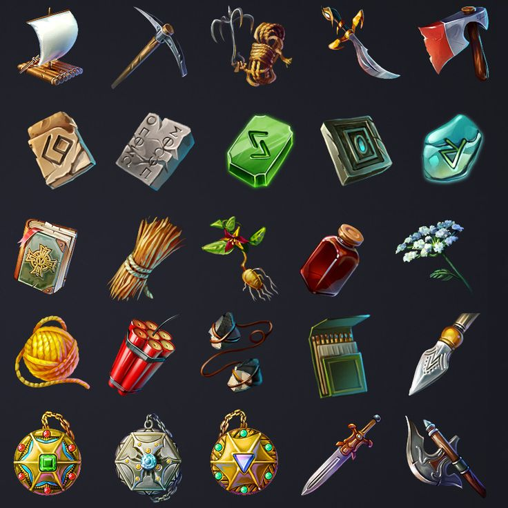 Runefall - Match-3 Game Icons, RetroStyle Games on ArtStation at https://www.artstation.com/artwork/rWYZE