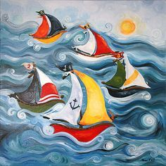 The Boat Race Hand-Painted Canvas from PoshTots