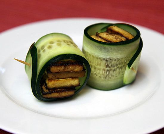 Tofu usually shows up as part of a full meal, but it also makes a delicious and satisfying snack. Prepare tofu ahead of time, and store it in the fridge to whip up these protein-packed vegan cucumber tofu rolls in a matter of minutes.   Calories: 117