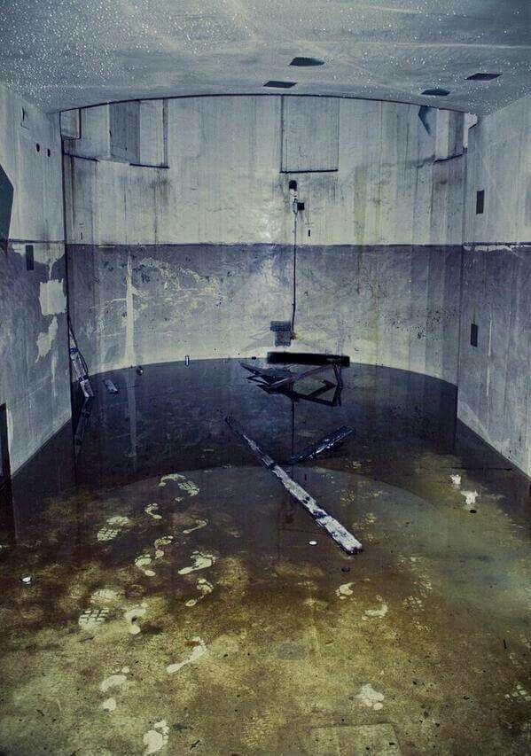 Bare footprints in an abandoned nuclear reactor.
