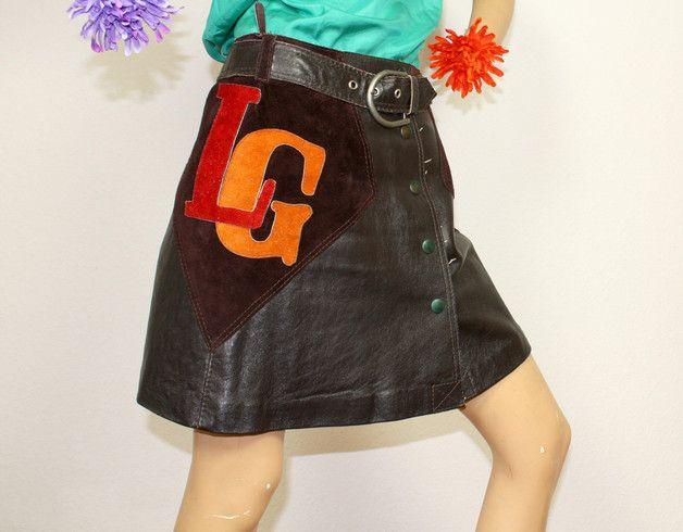 Vintage Röcke - 70er Leder Minirock True Vintage A-Linie Knöpfe S - ein Designerstück von PlanetClaire bei DaWanda