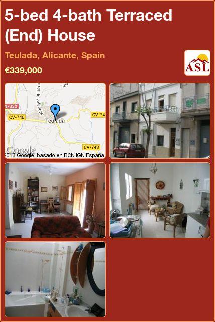5-bed 4-bath Terraced (End) House in Teulada, Alicante, Spain ►€339,000 #PropertyForSaleInSpain