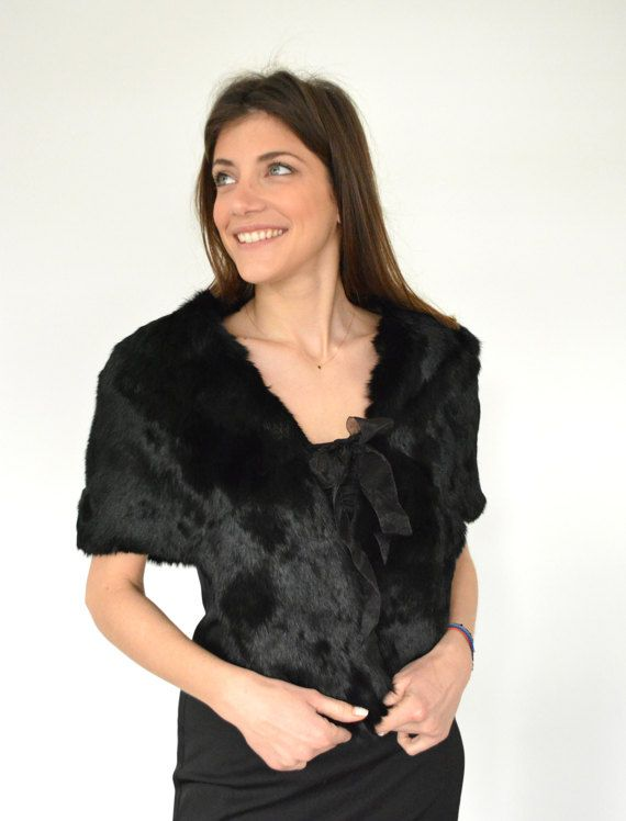 Women's Handmade Black Cape made with genuine Rabbit by lefushop