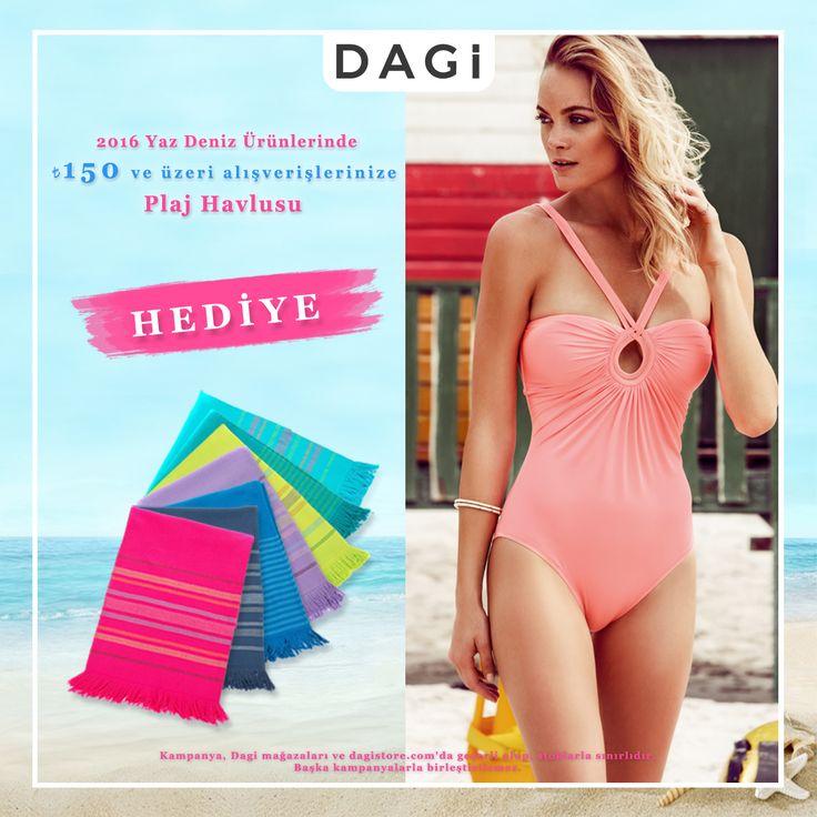 Hemen Dagi mağazalar ve dagistore.com 'a gel, 2016 Yaz deniz ürünlerinden yapacağın 150 TL ve üzeri alışverişlerine 'plaj havlusu' hediyemiz olsun 🎁☺ #Dagi #plaj #deniz #kampanya #indirim #havlu #tatil #sahil #hediye #alışveriş #online