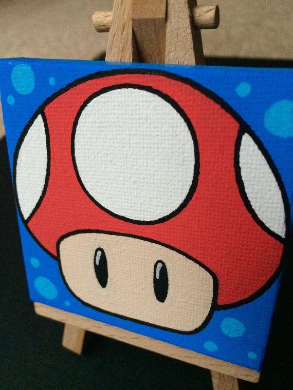 Mario Mushroom Mini Canvas Original Painting