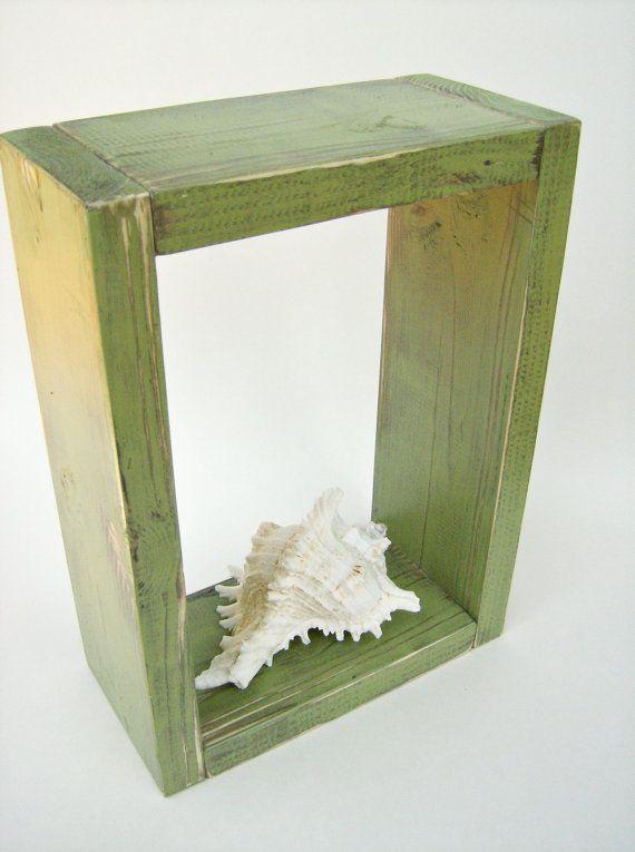 ShadowBox - AVOCADO GREEN - Shabby Chic Bathroom Decor, Handmade Wood Wall Bedroom Decor