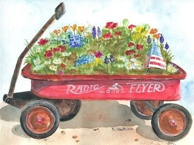Red Wagon Garden-watercolor print radio flyer wagon with flowers and flag. $15.00, via Etsy.