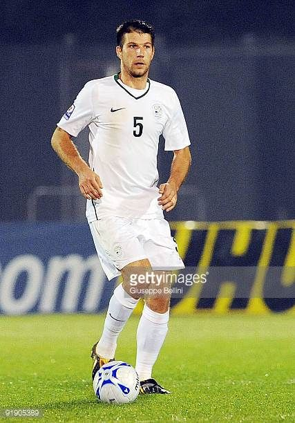 Bostjan Cesar of Slovenia in action during the FIFA 2010 World Cup Group 3 Qualifying match between San Marino and Slovenia at Stadio Olimpico on...