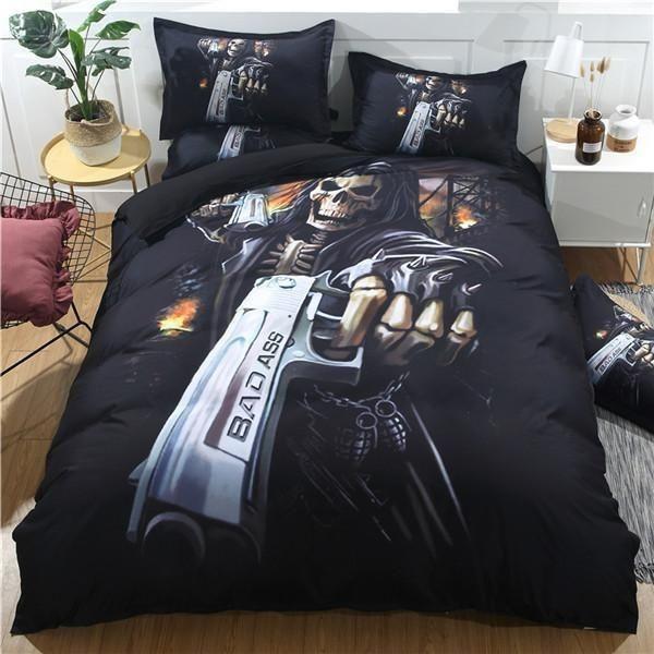 Black Duvet Cover Set Twin Full Queen King Size Bedding Set Skull Pillowcase