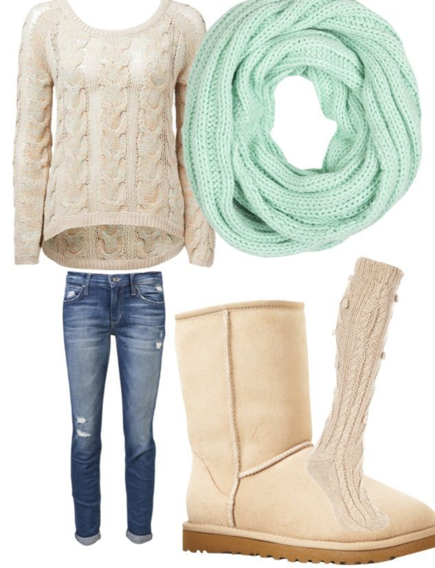 Off-White Sweater, Light Teal Knit Scarf, Medium/Light Wash Slightly Distressed Jeans, Off-White/Cream Colored Uggs, and Light Beige Knit Socks