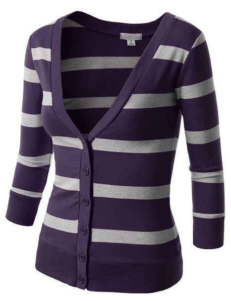 J.TOMSON Womens Striped V-Neck Button Down Cardigan at Amazon Women's Clothing store: