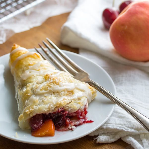 Cherry & Peach Turnovers with a Sweet Bourbon Glaze.  Ready in under 40 minutes!    sweetpeasandsaffron.com