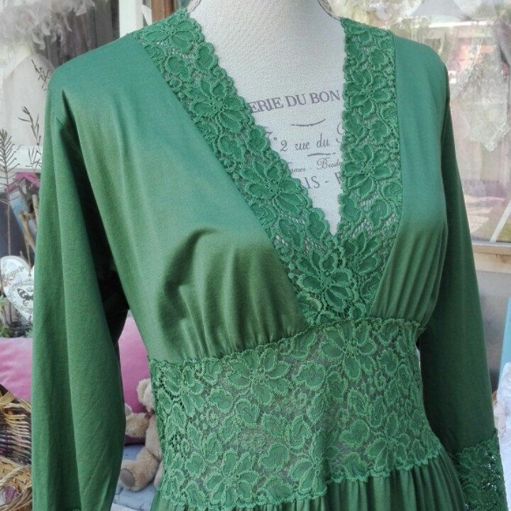 Nightgown Green camicia da notte Shabby chic verde pizzo