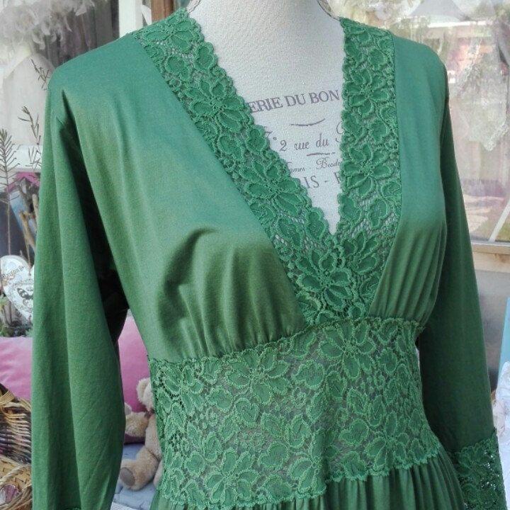 Nightgown Green camicia da notte Shabby chic verde pizzo