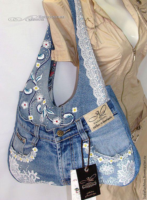 Купить Джинс - романтик - синий, джинсовый стиль, сумка, дизайнерская работа, джинсовая сумка, джинсы