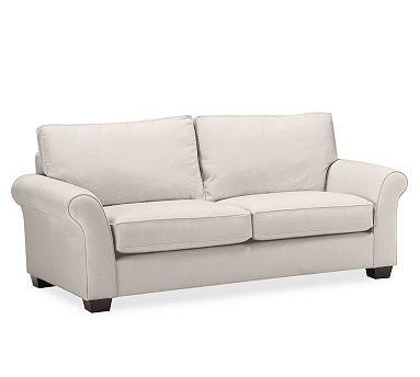 PB Comfort Roll Upholstered Box-Edge Cushion Sofa #potterybarn