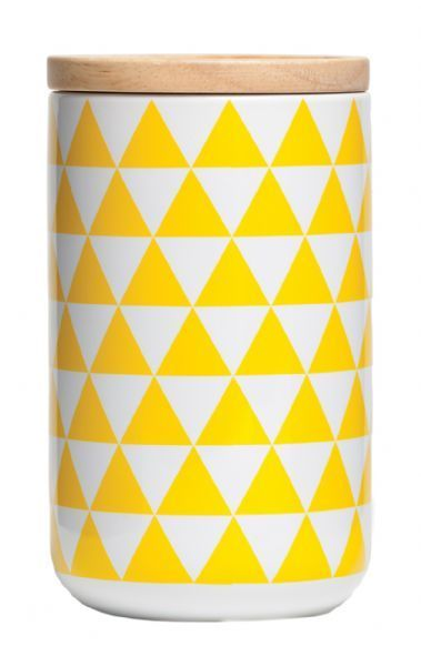 All That I Need - General Eclectic Tall Canister - Yellow Triangles, $20.00 (http://www.allthatineed.com.au/products/general-eclectic-tall-canister-yellow-triangles.html)