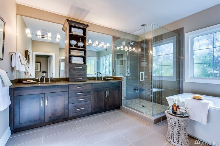 Transitional Master Bathroom with Frameless Shower Doors By Dulles Glass and Mirror, High ceiling, Flat panel cabinets, Flush