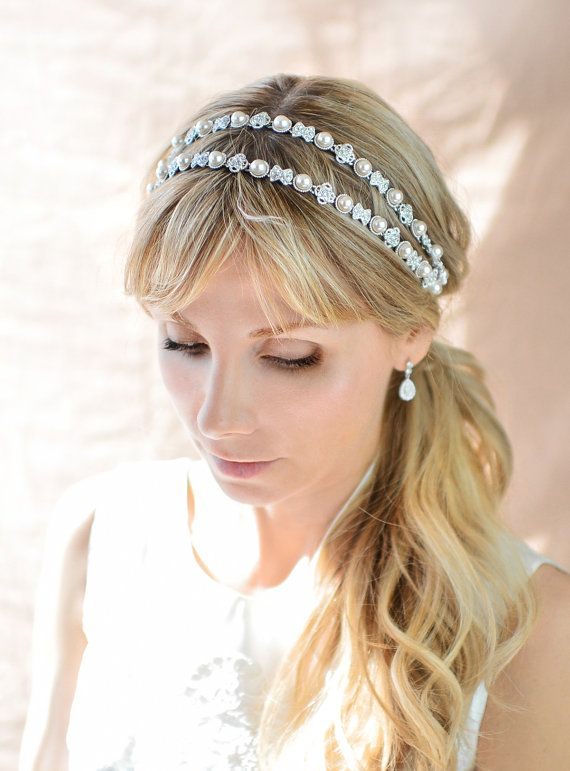 Bridal Ribbon Rhinestone Headband Hair Accessory