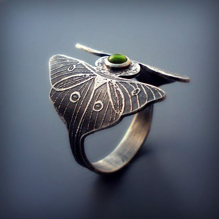 Silver Luna Moth Ring with Peridot Cabochon