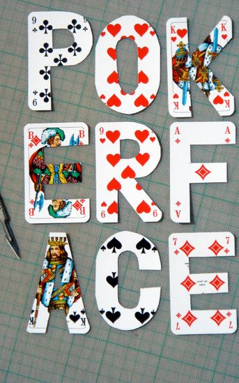 Letters made from poker playing cards