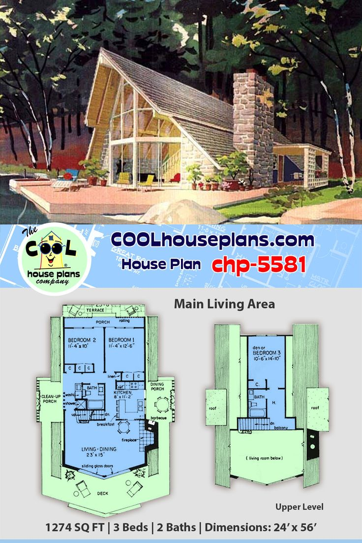 Rustic 3 bedroom vacation home plan in the Aframe style
