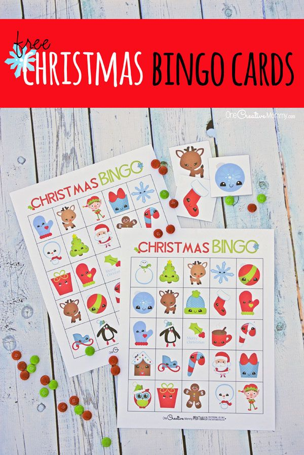 Free Christmas Bingo Cards! Perfect for a class party or family game night {OneCreativeMommy.com}: