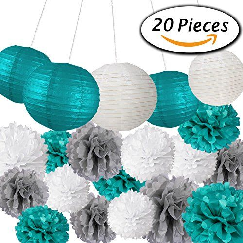 Paxcoo 20 Pcs Teal Grey Tissue Paper Pom Poms and Lanterns for Wedding Baby Shower Party Decoration - http://partysuppliesanddecorations.com/paxcoo-20-pcs-teal-grey-tissue-paper-pom-poms-and-lanterns-for-wedding-baby-shower-party-decoration.html