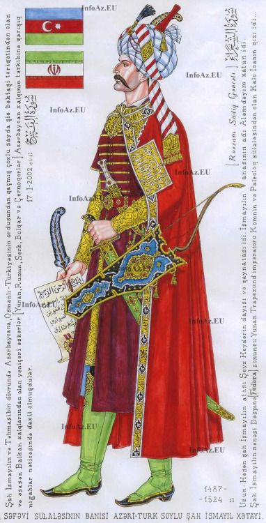 Shah Ismail, the great Azerbaijani-Safavid king, commander and poet. by Sadiq Ganjali, - Qajar Dynasty